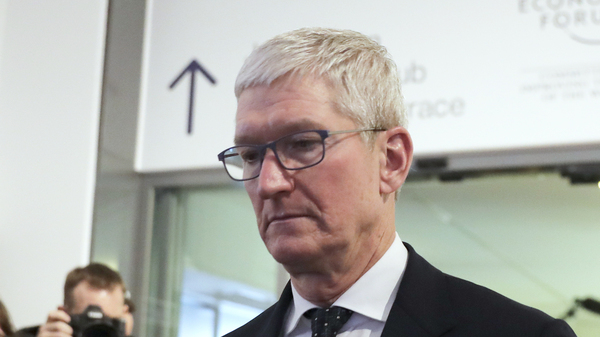 Apple CEO Tim Cook is photographed at the World Economic Forum in Davos in 2020.